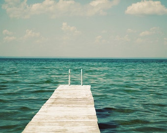 Mint Photography, Lake Picture, Ocean Wall Art, White Dock Photography,Beach House Decor, Large Art Print, Nature Photo