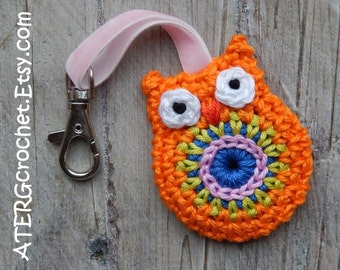 OWL key ring 'mandarine' by ATERGcrochet