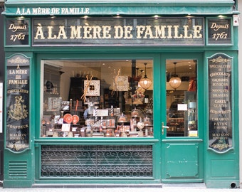 Paris Chocolate Shop Photograph, A La Mere de Famille, Large Wall Art, French Kitchen Decor, Travel Photograph