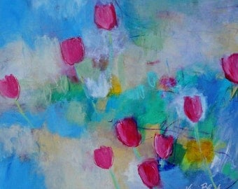 "Original Abstract Painting, Flowers in Acrylic, Pink, Blue, Cheerful, ""Breezy Tulips in the Garden"""