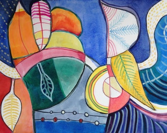 Melodic Composition, abstract watercolor