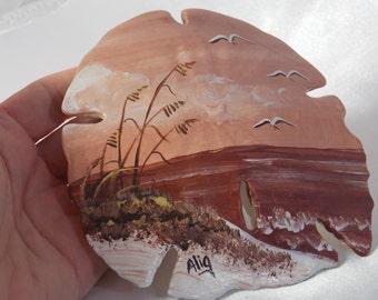 Hand Painted Sand Dollar Beach Segal Ocean Scene