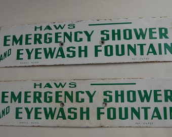 Haws Emergency Shower Eyewash Fountain Metal Sign