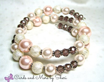 Pink and Mauve Memory Wire Bracelet