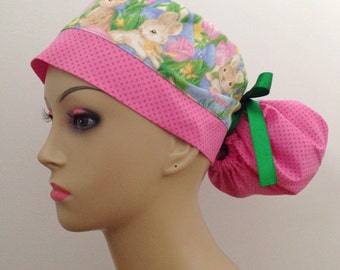 Women's Ponytail Surgical Scrub Hat - Easter Bunnies and Polka Dots