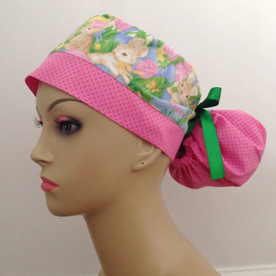 s ponytail surgical scrub hat easter bunnies and