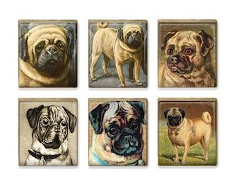 Vintage Pugs Scrabble Tile Magnet Set