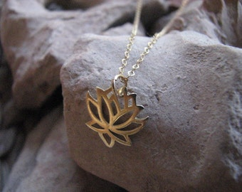 Gold Lotus Necklace on Gold filled chain, Authentic Yoga Charm Pendant, Yoga Jewelry, Gold Cable Chain Necklace