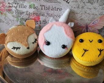 Kawaii Unicorn, Baby Chick Peep, Pink Alpaca Lolita, Macaron Macaroon Cake Coin Purse, Wallet, Ring Box, Keychain