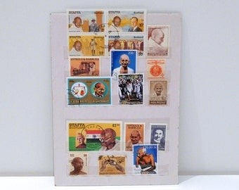 Gandhi Postage Stamps Collection Vintage Various Countries unused & used India Indian Collection decoupage mixed media postage stamp 1990s