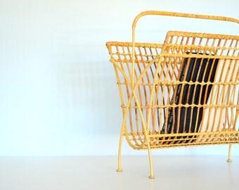 wicker and metal magazine rack holder - mid-century decor