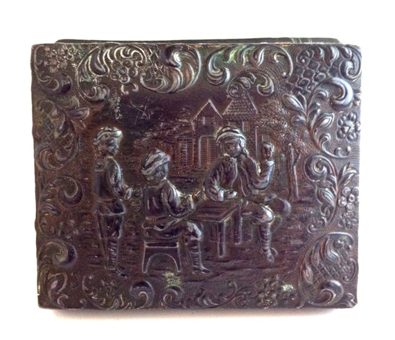 Decorative Metal Boxes With Lids : Metal box top with ornate decorative carving vintage lid as