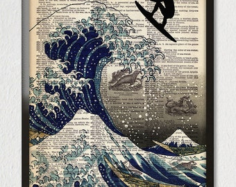 Great Wave SURFER Off Kanagawa Girl or Boy Air Surfing Art Print Poster Illustration Sea Ocean Antique Dictionary Book Page 8x10 A3 ++Sizes