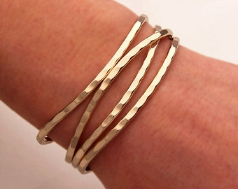 Thin Hammered Cuff Bracelets, 14K Gold Filled
