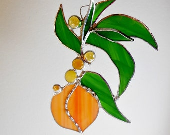 Juicy Peach. Stained Glass Suncatcher. Peach from Michigan farm.