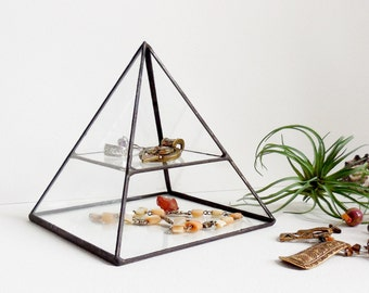 Glass Box Pyramid Display Box Gift For Her Stained Glass Display Box Pyramid with a glass shelf