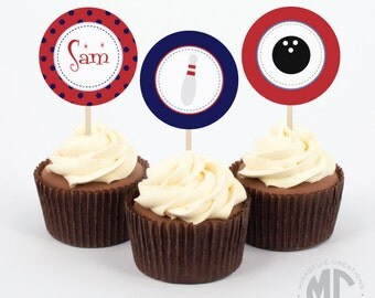 Bowling Party - Printable Digital Party Circles or Cupcake Toppers - Mirabelle Creations