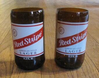 Red Stripe beer bottle tumbler set of 2