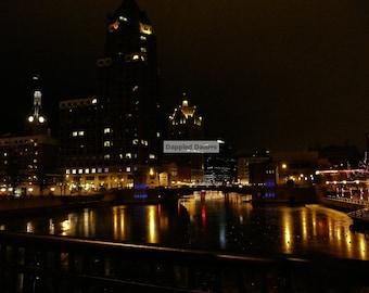 Photograph of Downtown Milwaukee at Christmas.