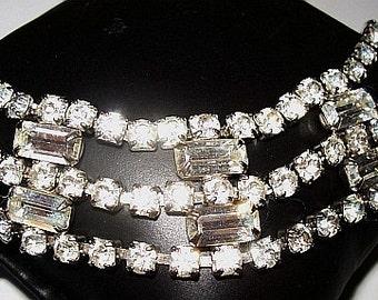 Art Deco Bracelet Baguette Clear Rhinestones Silver Metal Chunky Link Style 7 in Vintage