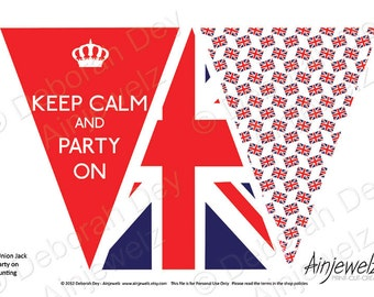 Union Jack Keep Calm Bunting Garland - INSTANT DOWNLOAD party decoration