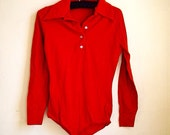 Red Collared Bodysuit