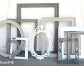 Shades of Greys and White Frame Set Custom Frames Open or Frames with GLASS You Choose Frame Collection Modern Grey White Collection