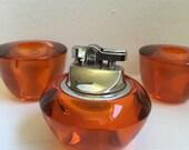 Viking Art Glass Persimmon Orange Tabletop Lighter and Candleholders Set