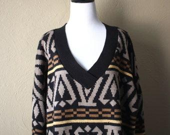 Vintage Southwestern Deep V Sweater xx
