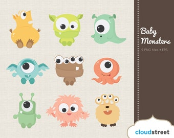 20% OFF Cute Baby Monsters Clipart for Personal and Commercial Use ( cute baby monster clip art ) vector graphics