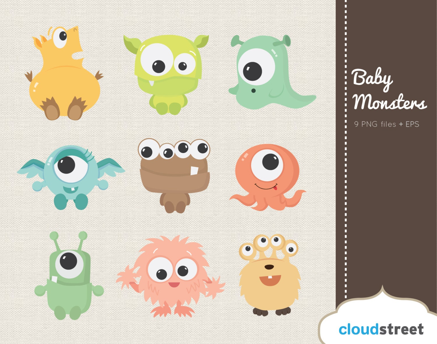 20% OFF Cute Baby Monsters Clipart for Personal and Commercial