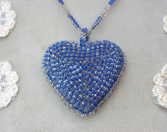 Sweet Vintage Beaded Heart Necklace with Cobalt and Silver Glass Beads