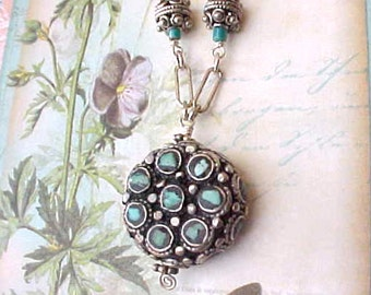 Beautiful, Dainty, and Unusual Sterling Silver Necklace Set with Turquoise