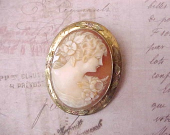 Lovely Antique Carved Shell Cameo of Goddess Flora-Wear as Pendant or Brooch