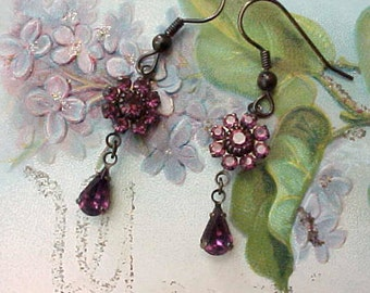 Beautiful Dangling Earrings with Deep Purple Austrian Crystals