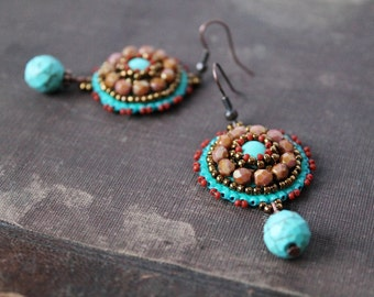 Turquoise Dangle Earrings Turquoise Jewelry Turquoise Copper Brown Earrings Bead embroidery Earrings Ethnic Tribal Earrings
