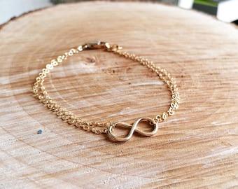Infinity Bracelet - Handmade 14K Gold Filled Double Strand Infinity Bracelet - Gold Infinity Bracelet - Bridesmaid Gift/ Best Friends