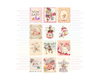 12 Vintage Baby Girl Images - Vintage Greeting Cards - 8 x 11 Digital Collage - JPEG PNG