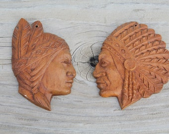 Vintage Faux Wood Native American Man & Woman Wall Hanging Plaque
