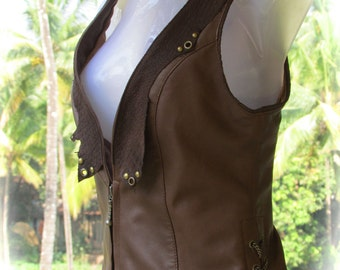 ON SALE!! Leather steampunk vest, brown leather pixie vest, burning man leather vest, biker leather vest