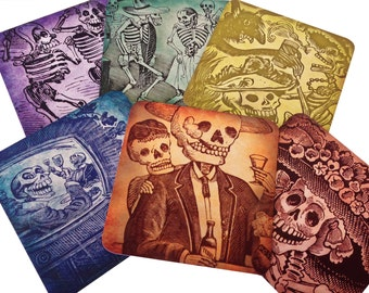 Set of Six Different Posada - Day of the Dead Coasters