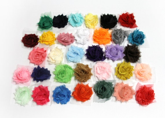 MINI Shabby Chiffon Flowers on Mesh Trim, Solid Colored Shabby Roses for Baby Headbands -  set of 24