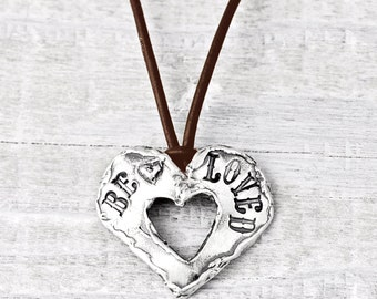 Beloved Necklace- Heart Jewelry- Leather Heart Necklace - N693