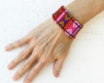 Ethnic bracelet, Folk unisex Bangle, Textile andean wristband, Loom cuff,  Multicolor weave accessory, Geometric design Colorful bracelet