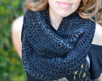 Starry night infinity scarf, cowl, crocheted loop cowl, crochet scarf, winter cowl