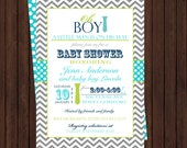 Tie Baby Shower Invitation Boys Classic Grey Chevron with Aqua Polka-Dot Lime and Navy Casual Little Man Party Printable or Printed Invites
