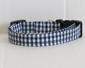 Navy Dog collar, gingham dog collar, handmade dog collar, dog accessory