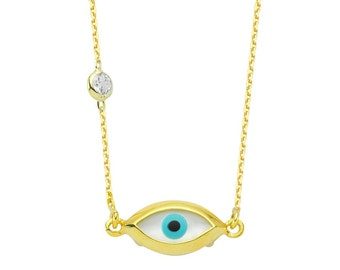 Mother of pearl Evil Eye Celebrity Necklace, Yellow gold over Sterling silver