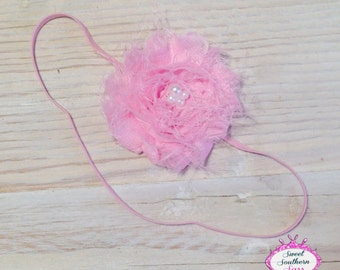 Pink Shabby Headband, Skinny Elastic Headband, single flower headband,  simple headband,  Pink flower headband,  rosette flower headband