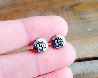 Tiny Ohm Stud Earrings, Om symbol Silver Tone Studs, Yoga Jewelry, Ohm Jewelry